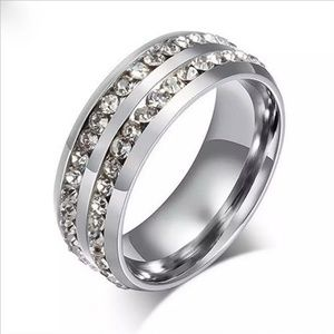 Silver Double Row Zircon Stainless Steel Ring